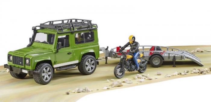 Land Rover+ Motocicleta Ducati+trailer de transport+ pilot 3
