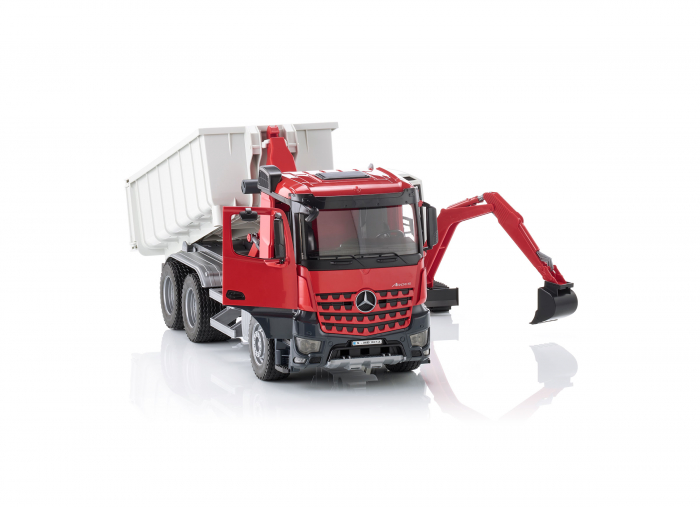 Jucarie camion Mercedes Benz Arocs cu container detasabil si mini excavator Schaeff, Bruder [3]