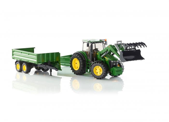 Tractor John Deere verde cu incarcator frontal si remorca basculabila, Bruder [3]