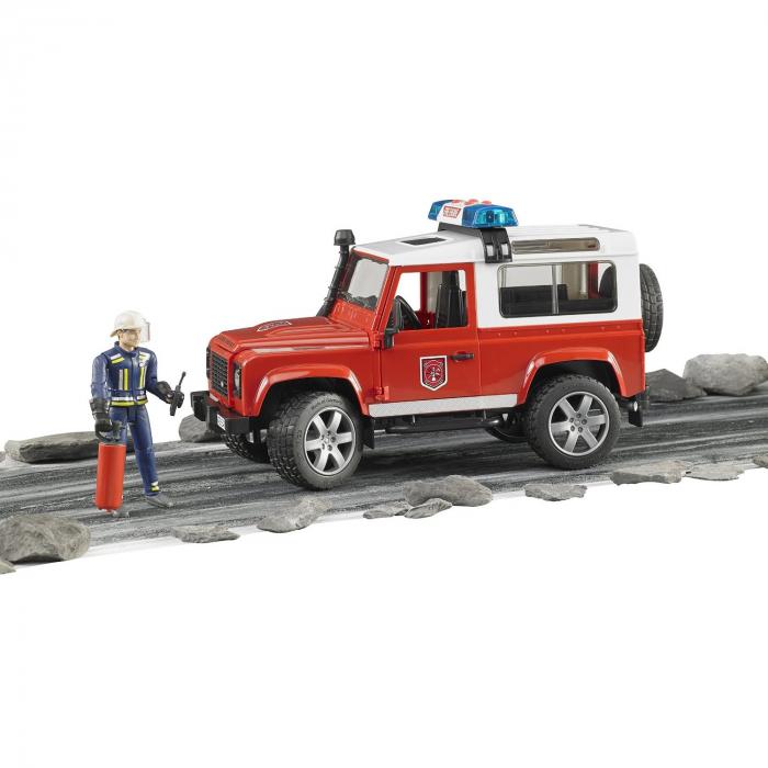 Masina de pompieri Land Rover Defender cu modul de lumini si sunet + figurina pompier cu accesorii, Bruder 3