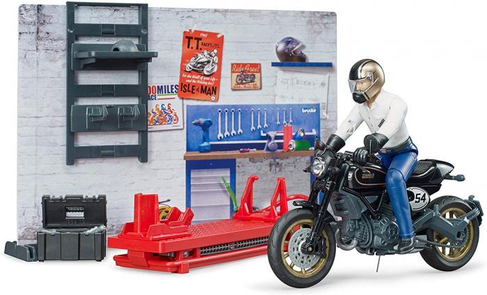 Set tematic service Bworld cu motocicleta, mecanic si accesorii, Bruder 3