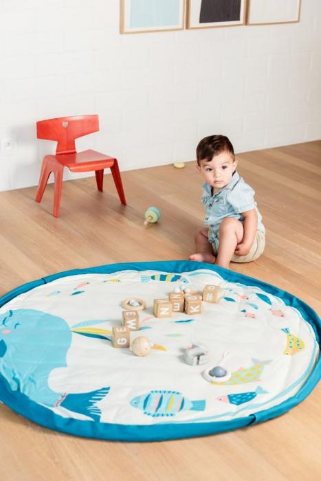 Saltea de joaca bebe si rucsac portabil 3 in 1 Play&Go cu print Moulin Roty Olga [4]
