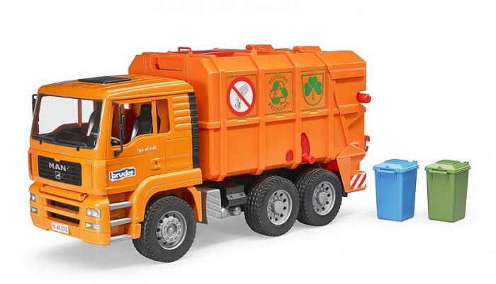 Jucarie Camion MAN TGA masina de gunoi cu incarcare spate si toberoane, Bruder 4