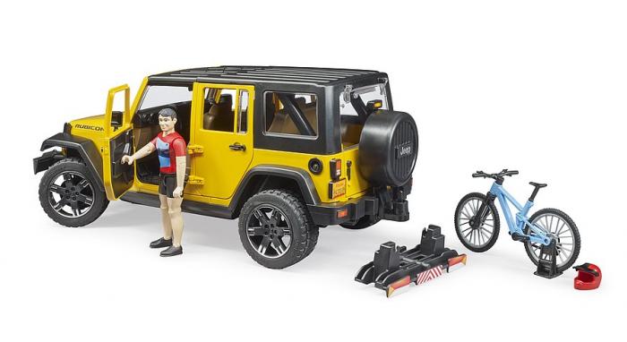 Jucarie Jeep Wrangler Rubicon cu bicicleta si figurina biciclist, Bruder [4]