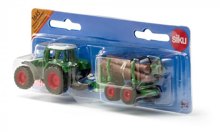 Jucarie macheta tractor forestier cu remorca, Siku [5]