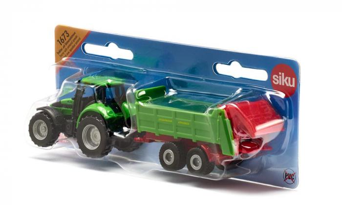 Jucarie macheta tractor pentru pregatirea campurilor cu remorca, Siku [3]