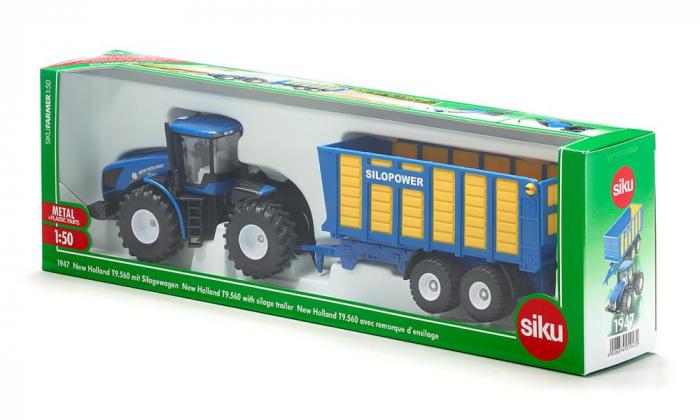 Jucarie macheta tractor New Holland cu remorca, Siku [5]