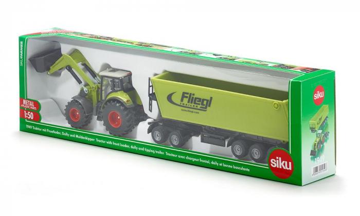 Jucarie macheta tractor Claas Axion cu incarcator frontal si basculanta, Siku [6]