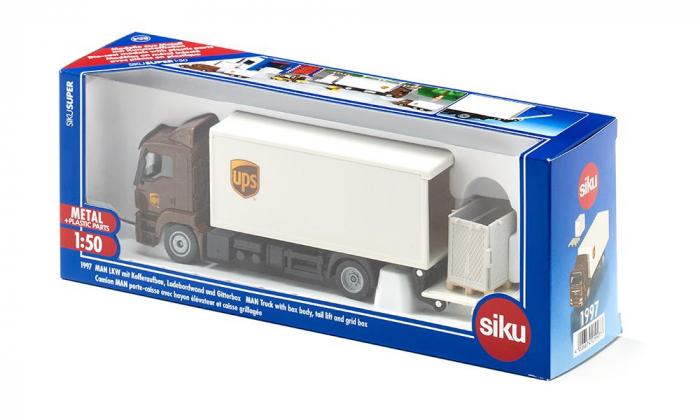 Jucarie macheta camion MAN transporter cu platforma ridicare colete si accesorii [6]