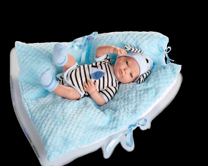 Papusa bebelus baiat, Arrullo Azul, colectia New Born Special, Berjuan handmade luxury dolls [0]