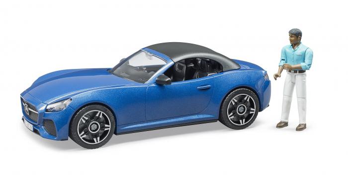 Jucarie masina Roadster albastra cu figurina sofer, Bruder 1