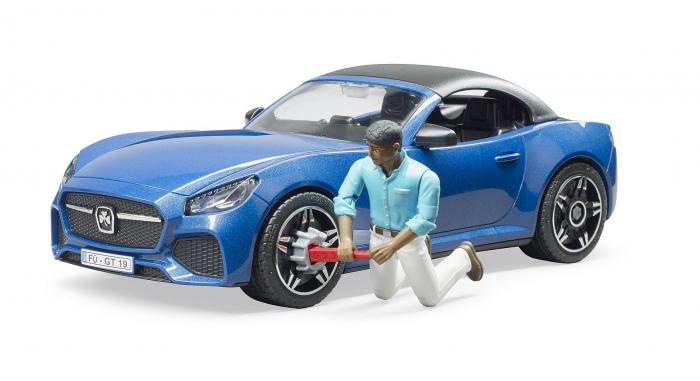 Jucarie masina Roadster albastra cu figurina sofer, Bruder 2