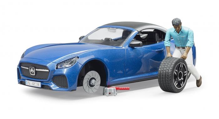 Jucarie masina Roadster albastra cu figurina sofer, Bruder 3