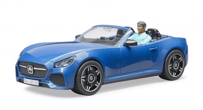 Jucarie masina Roadster albastra cu figurina sofer, Bruder 0