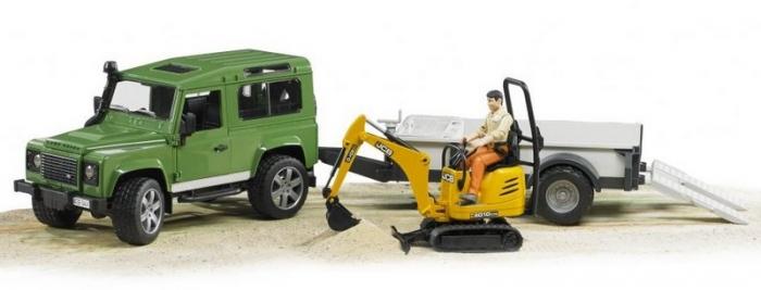 Set jucarii Land Rover Defender cu remorca, mini excavator JCB si figurina muncitor, Bruder 1