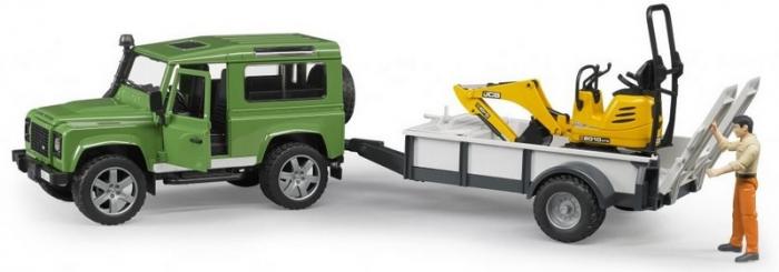 Set jucarii Land Rover Defender cu remorca, mini excavator JCB si figurina muncitor, Bruder 2