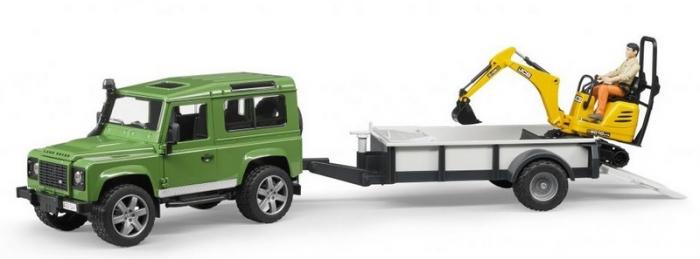 Set jucarii Land Rover Defender cu remorca, mini excavator JCB si figurina muncitor, Bruder 0
