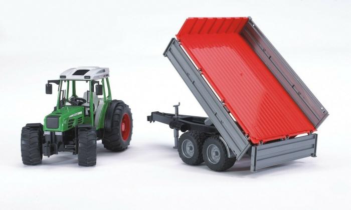 Jucarie Tractor Fendt209 S verde cu remorca basculabila, Bruder 0