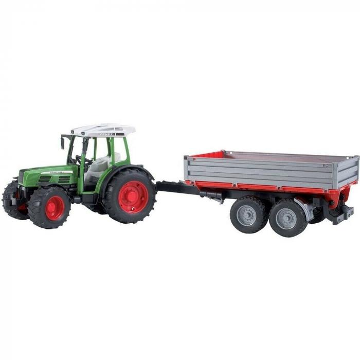 Jucarie Tractor Fendt209 S verde cu remorca basculabila, Bruder 2