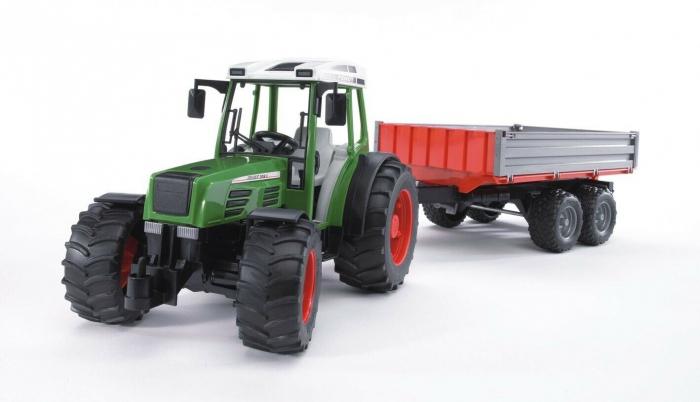 Jucarie Tractor Fendt209 S verde cu remorca basculabila, Bruder 1