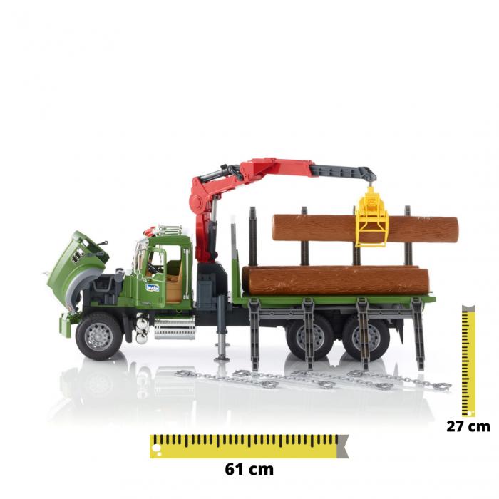 Jucarie camion Mack Granite cu macara pentru lemne + 3 busteni, Bruder [0]