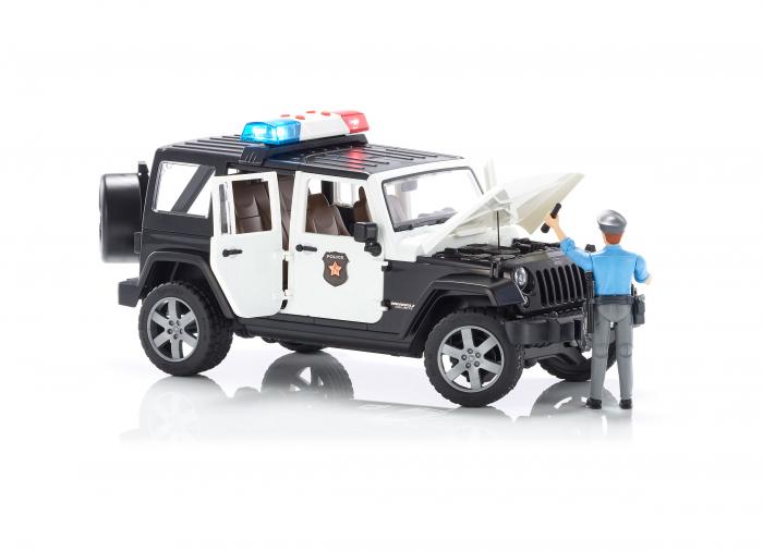 Masina de politie Bruder tip Jeep Wrangler Rubicon cu modul lumini + sunet si figurina politist, Bruder 2