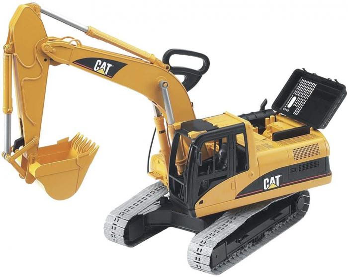 Excavator interior/exterior CAT galben cu cupa detasabila, Bruder [5]