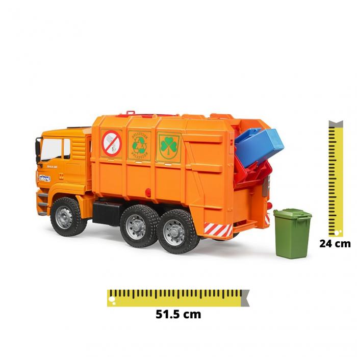 Jucarie Camion MAN TGA masina de gunoi cu incarcare spate si toberoane, Bruder [0]