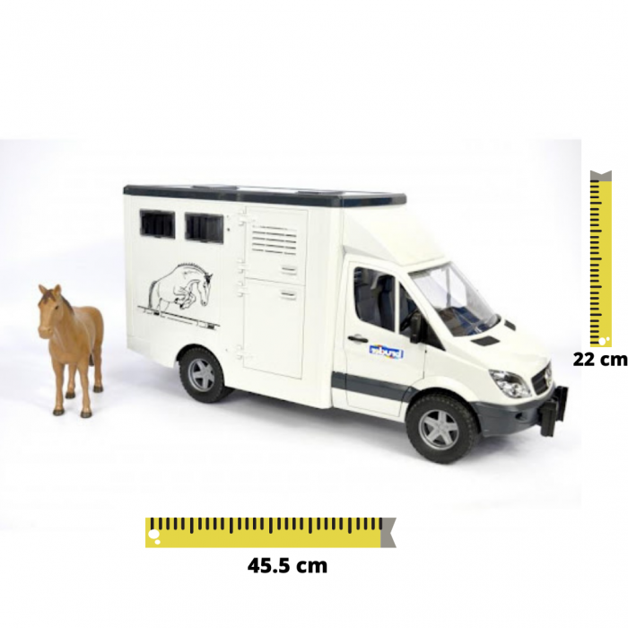 Jucarie Duba Mercedes Benz transporter animale si figurina cal Bruder [0]