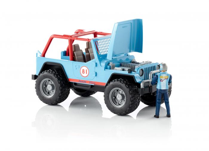 Jucarie Jeep Cross Country racer albastru cu figurina pilot Bruder 2