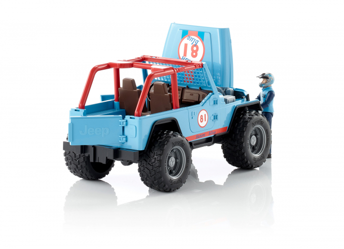 Jucarie Jeep Cross Country racer albastru cu figurina pilot Bruder 3