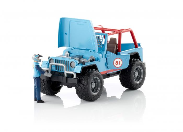 Jucarie Jeep Cross Country racer albastru cu figurina pilot Bruder 1