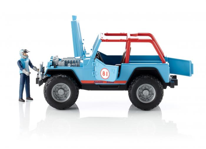 Jucarie Jeep Cross Country racer albastru cu figurina pilot Bruder 0