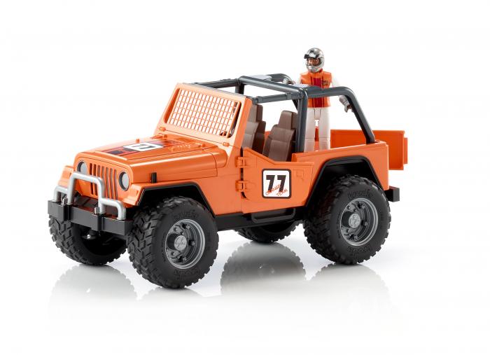 Jucarie Jeep Cross Country Racer portocaliu cu figurina pilot cu casca si manusi de protectie,Bruder 1