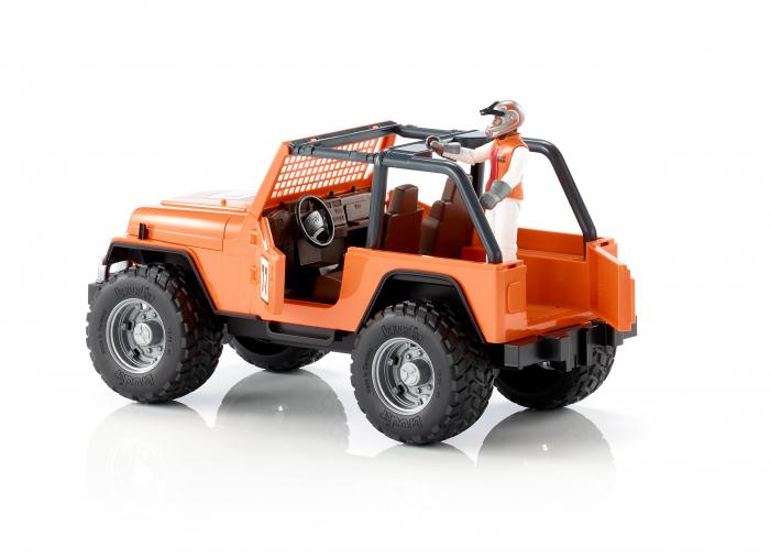 Jucarie Jeep Cross Country Racer portocaliu cu figurina pilot cu casca si manusi de protectie,Bruder 2