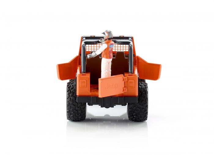 Jucarie Jeep Cross Country Racer portocaliu cu figurina pilot cu casca si manusi de protectie,Bruder 3