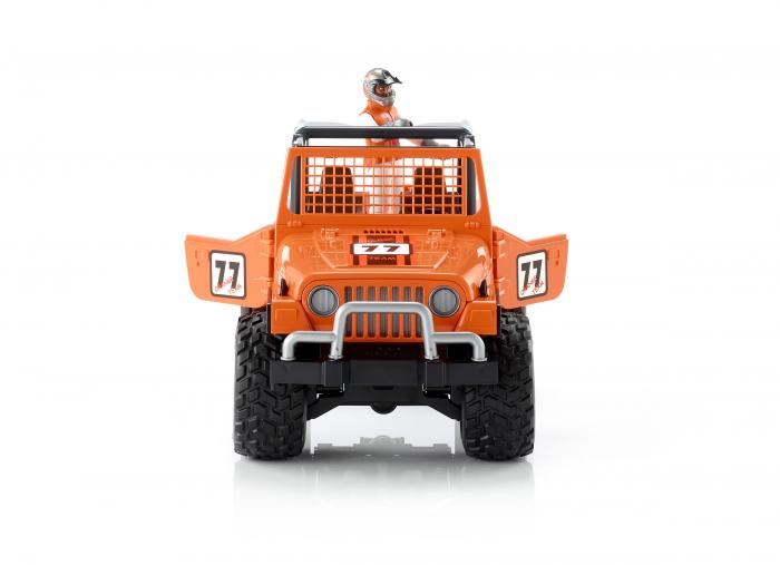 Jucarie Jeep Cross Country Racer portocaliu cu figurina pilot cu casca si manusi de protectie,Bruder 0