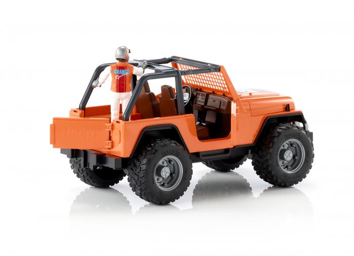Jucarie Jeep Cross Country Racer portocaliu cu figurina pilot cu casca si manusi de protectie,Bruder 4