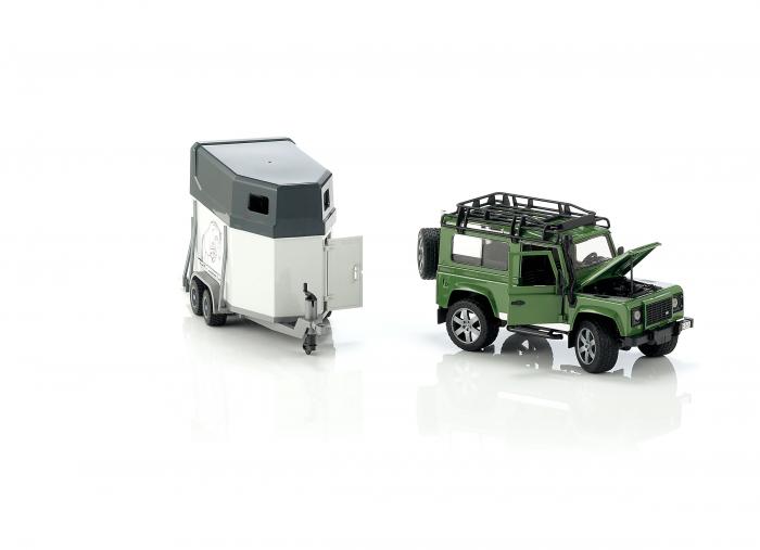 Jucarie Jeep Land Rover Defender cu remorca pentru transport cai + figurina cal inclusa - 61,5 x 14 x 18,5 cm 2