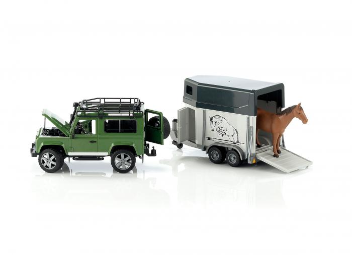Jucarie Jeep Land Rover Defender cu remorca pentru transport cai + figurina cal inclusa - 61,5 x 14 x 18,5 cm 1