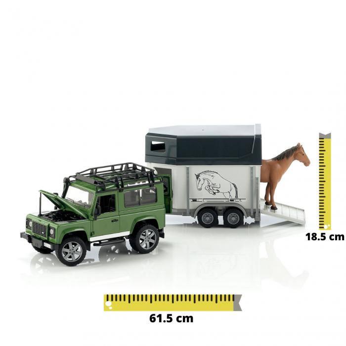 Jucarie Jeep Land Rover Defender cu remorca pentru transport cai + figurina cal inclusa - 61,5 x 14 x 18,5 cm [0]