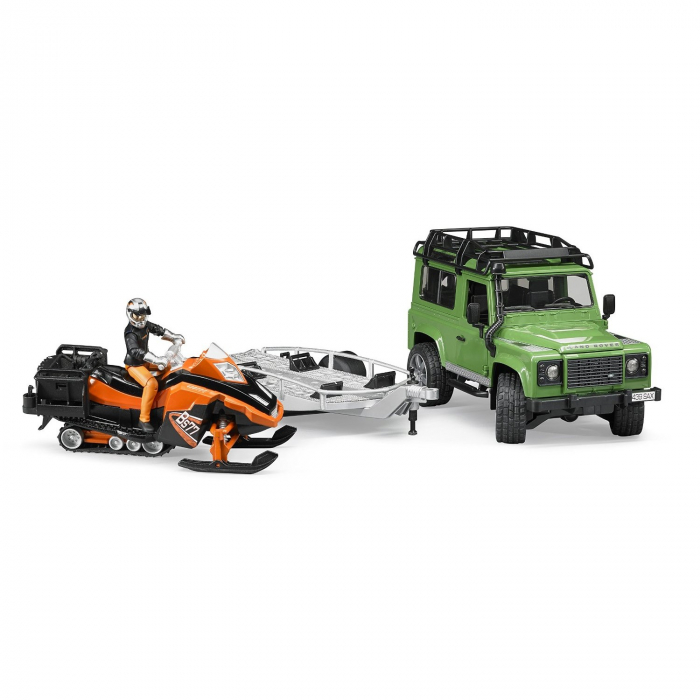 Masina tip Jeep Land Rover Defender de teren verde cu trailer, snowmobil cu accesorii si figurina pilot, Bruder 2