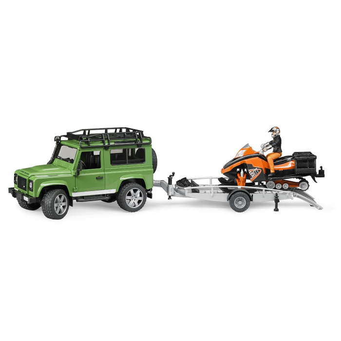 Masina tip Jeep Land Rover Defender de teren verde cu trailer, snowmobil cu accesorii si figurina pilot, Bruder 1