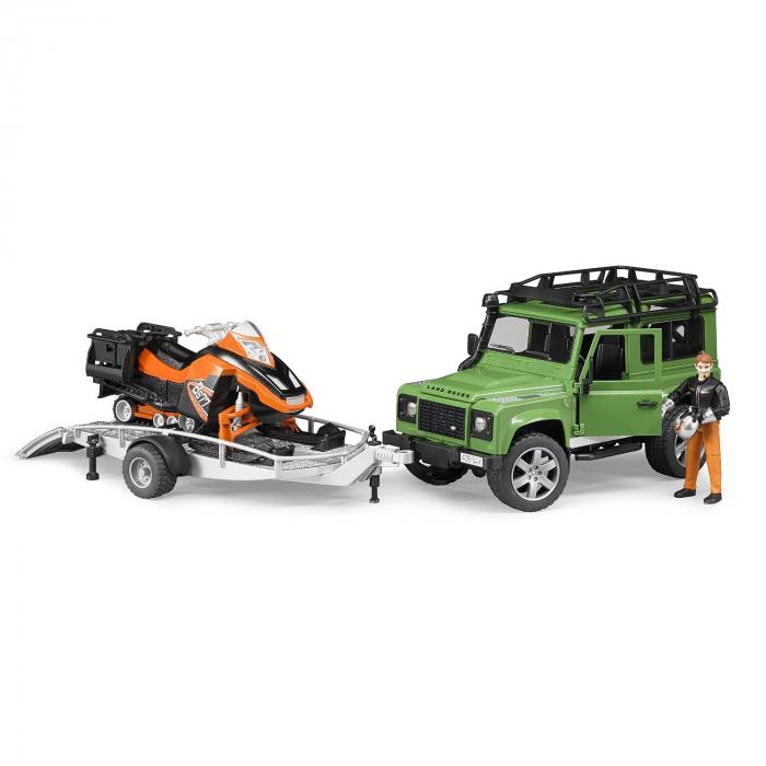Masina tip Jeep Land Rover Defender de teren verde cu trailer, snowmobil cu accesorii si figurina pilot, Bruder 0
