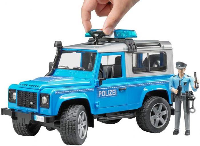 Vehicul Jeep Land Rover Defender de politie cu modul de lumini si sunet si figurina politist Bruder 4