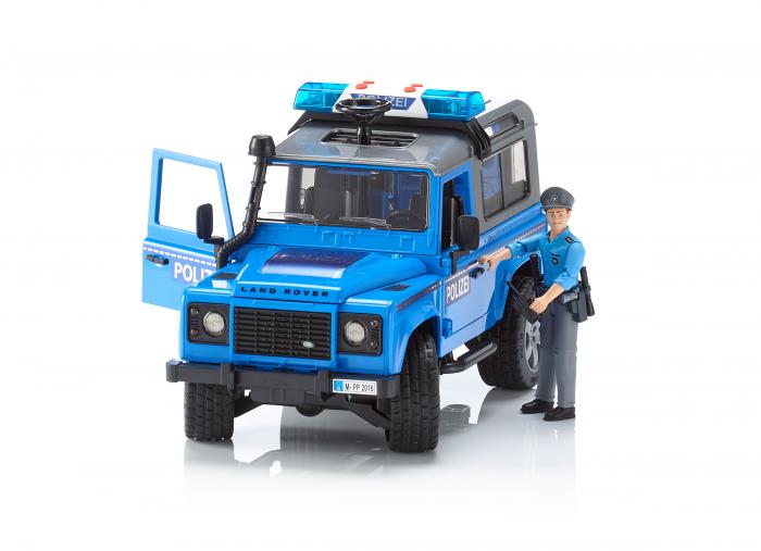 Vehicul Jeep Land Rover Defender de politie cu modul de lumini si sunet si figurina politist Bruder 0