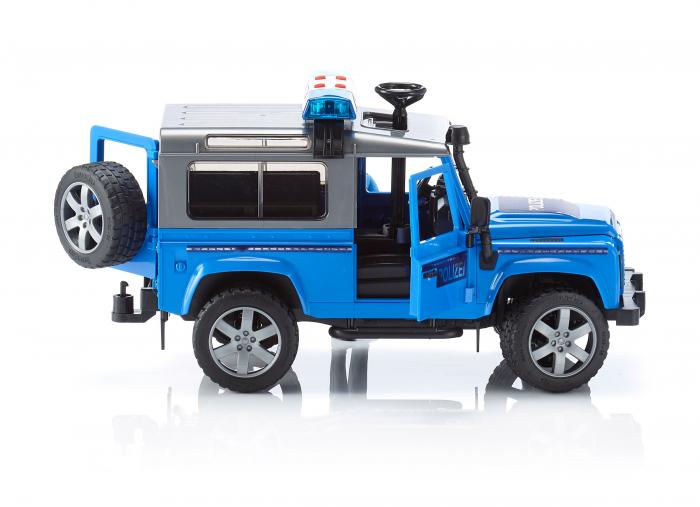 Vehicul Jeep Land Rover Defender de politie cu modul de lumini si sunet si figurina politist Bruder 3