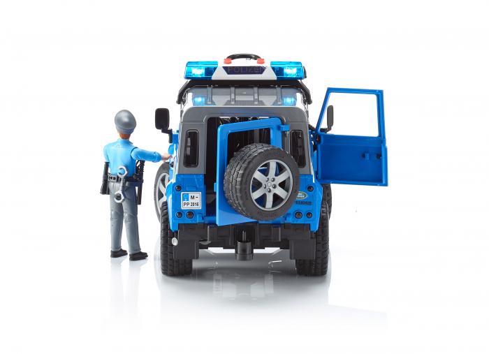 Vehicul Jeep Land Rover Defender de politie cu modul de lumini si sunet si figurina politist Bruder 2