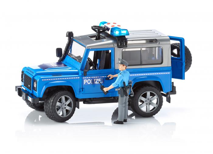 Vehicul Jeep Land Rover Defender de politie cu modul de lumini si sunet si figurina politist Bruder 1