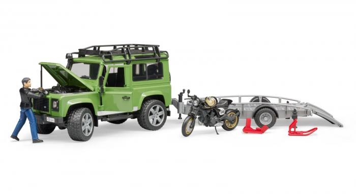 Masina Jeep Land Rover verde cu statie de tractare, motocicleta Ducati Scrambler Cafe Racer si figurina Bruder 7